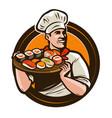 sushi food logo or label seafood restaurant vector image vector image