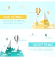Travel to mountains background Adventure flyer vector image