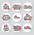 valentines day round stickers set romantic labels vector image