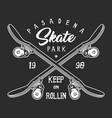 vintage skateboarding monochrome label concept vector image vector image