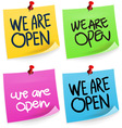 We Are Open Sticky Note vector image vector image