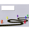 winding road with signs on a checker background in vector image vector image