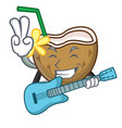 with guitar cocktail coconut mascot cartoon vector image vector image