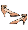 women high-heeled brown shoe with strap isolated vector image vector image