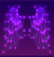 neon of angel wings with sparks vector image