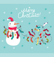 christmas card with a snowman vector image