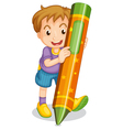 a boy holding pencil vector image