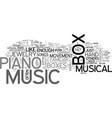 a fine piano music box is a work of art text word vector image vector image