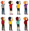 A group of faceless kids vector image vector image