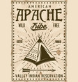 apache indian tribe reservation vintage poster vector image