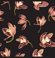 beige brown orchid flower seamless pattern vector image vector image