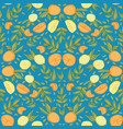 blue citrus lemon orange seamless repeat pattern vector image vector image