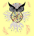 boho style colored owl with tribal arrows vector image vector image