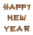 brown wooden sign happy new year isolated on vector image vector image