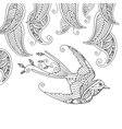 Coloring page with beautiful flying bird and vector image vector image