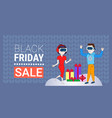 couple wear digital glasses black friday sale vector image vector image