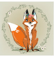 cute fox with floral wreath vector image vector image