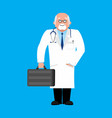doctor with suitcase in white wool physician vector image vector image