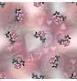 Doodles Valentines day pattern on blur background vector image