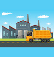 factory scene with dumping truck vector image