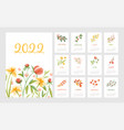 floral calendar for year 2022 with month pages set vector image