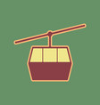 funicular cable car sign cordovan icon vector image