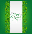 green banner with clovers vector image vector image