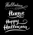 halloween trick or treat hand written typography vector image