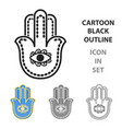 hamsa icon in cartoon style isolated on white vector image
