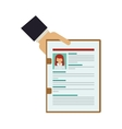 hand holding folder with curriculum vitae vector image