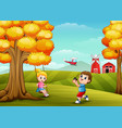 happy children playing in farm background vector image vector image