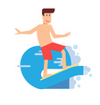 happy surfer riding on wave in flat design smiling vector image