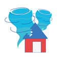 house with tornado storm disaster weather vector image