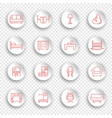 linear furniture icons on round stickers with vector image vector image