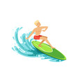 male surfer riding a wave water extreme sport vector image vector image