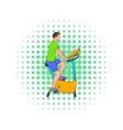 Man training on a stationary bike icon vector image vector image