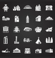 modern and ancient buildings set on black vector image