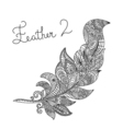 monochrome hand drawn zentagle of feather Coloring vector image vector image