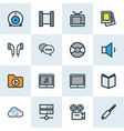 music icons colored line set with camera web cam vector image