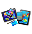 Office and home tablet computers mobile phones of vector image vector image