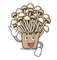okay enoki mushroom character cartoon vector image vector image