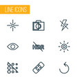 picture icons line style set with sparkle vector image