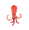 red octopus isolated on white vector image
