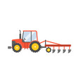 red tractor with plow for planting crops icon vector image vector image