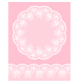 Round lacy frame on pink background vector image vector image