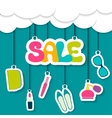 sale label in clouds vector image