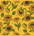 seamless pattern with sunflowers on a yellow vector image vector image