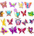 set cartoon butterflies on white background vector image vector image