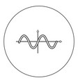 Sinewave icon black color in circle isolated