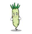 smile white radish cartoon character vector image vector image